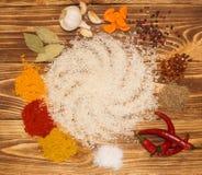 Rice Set for vegetable paella, pilaf, risotto. Delicious cuisine - set for vegetable paella, pilaf, rizzoto, porridge Stock Image