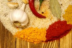 Rice Set for vegetable paella, pilaf, risotto. Delicious cuisine - set for vegetable paella, pilaf, rizzoto, porridge Royalty Free Stock Photo