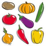 Set of vegetable, vector Royalty Free Stock Photos