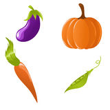 Set of vegetables. Cute icon set of different vegetables Stock Image