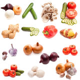 Set of vegetables. And mushrooms on a white background Stock Photo
