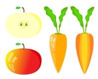 Set of  vegetables. Vector apple and carrot inside, outside Stock Photo