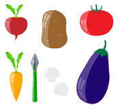 Set of  vegetables. Seven vagetables izolated on the white background Stock Photography