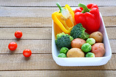 Set of vegetables in a baking dish Stock Photo