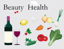 Set of vegetables and bottle of wine. Set of vegetables for salad and bottle of wine Royalty Free Stock Photos