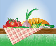 Set of vegetables with bread and tablecloth on nat Stock Photography