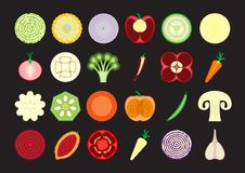 Set vegetables. Colorful vegetables cut in half, isolated royalty free illustration