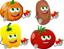 Set of vegetables eating apple Royalty Free Stock Photography