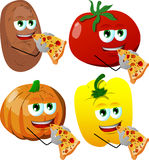 Set of vegetables eating pizza Royalty Free Stock Image