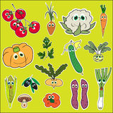 Set of Vegetables with eyes. Cute doodle vegetables in Flat Style Vector Isolated Royalty Free Stock Photography
