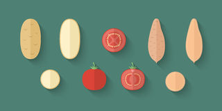 A set of Vegetables in a Flat Style - Potato, Tomato and Batata Royalty Free Stock Photos