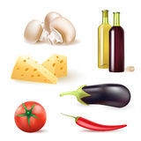 Set of vegetables and food ingredients and wine bottles Stock Photos