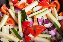 Set of vegetables fried in a pan. Selective focus Stock Photos