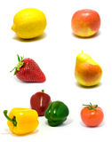 Set of vegetables and fruits Stock Images