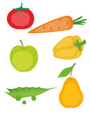 Set of vegetables and fruits Stock Photo