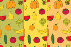 Set of vegetables, fruits seamless patterns Royalty Free Stock Photos
