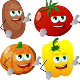 Set of vegetables gesturing a call me sign Stock Photos