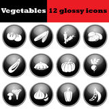 Set of vegetables glossy icons Royalty Free Stock Image