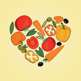 Set of vegetables in heart shapes. Big set of Vegetables icons. Flat Vector Illustration Stock Image