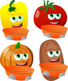 Set of vegetables holding empty bowl Royalty Free Stock Photo