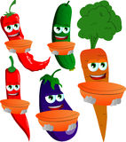 Set of vegetables holding empty bowl Royalty Free Stock Photography