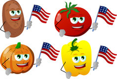Set of vegetables holding the flag of the USA Stock Images