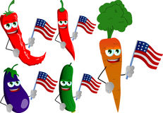 Set of vegetables holding the flag of the USA Stock Photos