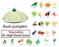 Set of 24 Vegetables Icons. Flat color design. Vector illustration Stock Image