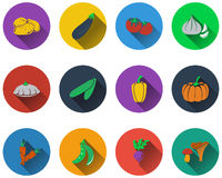 Set of vegetables icons Stock Images