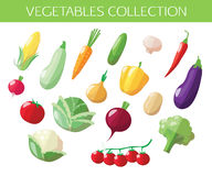 Set of vegetables icons. Flat style design Stock Image