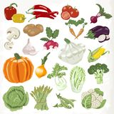 Set of vegetables. Icons isolated on white background Royalty Free Stock Photos