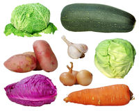 Set of vegetables. Isolated on white background Stock Photos