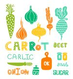 Set of vegetables and kitchen items. Illustration in Scandinavian style royalty free illustration