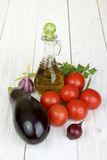 Set of vegetables and olive oil Royalty Free Stock Photography
