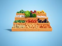 Set of vegetables for sale in wooden boxes 3d render illustration on blue background with shadow. Set of vegetables for sale in wooden boxes 3d render royalty free illustration