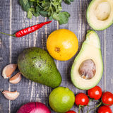 Set of vegetables for sauce guacamole Royalty Free Stock Photography