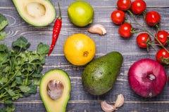 Set of vegetables for sauce guacamole Stock Photos