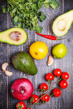 Set of vegetables for sauce guacamole Royalty Free Stock Images