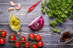 Set of vegetables for sauce salsa Royalty Free Stock Photos