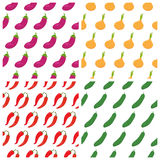 Set of vegetables seamless patterns. Healthy food backgrounds Stock Images