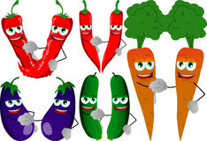 Set of vegetables shaking hands Royalty Free Stock Photos