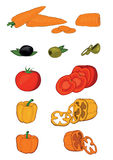 Set of vegetables. Vegetables such as carrot, tomato, peppers on white background. Simple Vector Illustration stock illustration