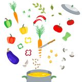 Set of vegetables. Vector collection of hand drawn colored vegetables and kitchen appliances. Great for icons, as design elements on web sites or labels Royalty Free Stock Photography