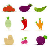 Set of vegetables  on white Royalty Free Stock Photo