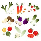 Set of vegetables on white background Stock Photos