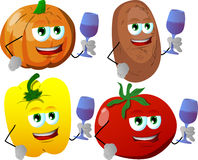 Set of vegetables with wine glass Stock Images