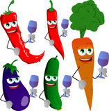Set of vegetables with wine glass Royalty Free Stock Photos