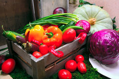 A set of vegetables in a wooden box. Royalty Free Stock Photo