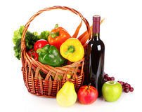 A set of vegetables in wricker basket isolated Stock Photos