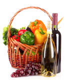 A set of vegetables in wricker basket isolated Royalty Free Stock Image
